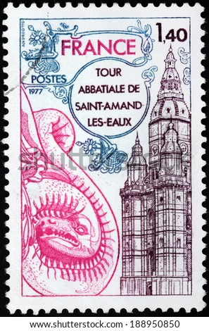 FRANCE - CIRCA 1977: A stamp printed by FRANCE shows Saint-Amand Abbey, once known as Elno, Elnon or Elnone Abbey, is a former Benedictine abbey in Saint-Amand-les-Eaux, Nord, France, circa 1977 - stock photo