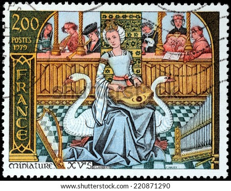 FRANCE - CIRCA 1979: A stamp printed by FRANCE shows 15th century Miniature - Music, circa 1979. - stock photo