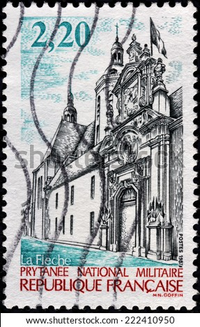 FRANCE - CIRCA 1987: A stamp printed by FRANCE shows The Prytanee National Militaire originally College Royal Henry-Le-Grand, French school managed by military in La Fleche town, circa 1987 - stock photo