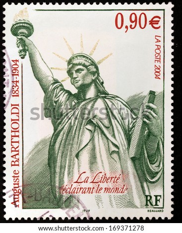 FRANCE - CIRCA 2004: A stamp printed by FRANCE shows the Statue of Liberty by a French sculptor Fredrric Auguste Bartholdi, circa 2004 - stock photo