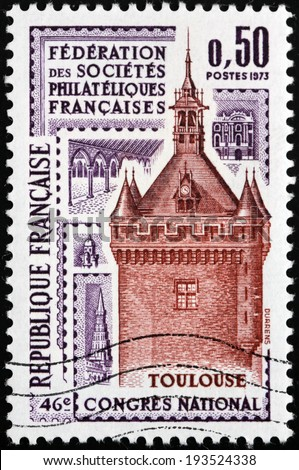 FRANCE - CIRCA 1973: A stamp printed by France shows Tower in Toulouse, French Philatelic Societies Congress, circa 1973 - stock photo
