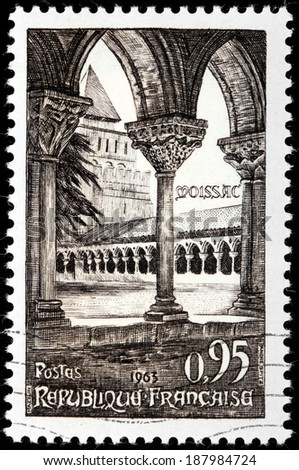 FRANCE - CIRCA 1963: A stamp printed by FRANCE shows view of Cloister of the Saint-Pierre abbey, Moissac town in the Tarn-et-Garonne department in the Midi-Pyrenees region, southern France, circa 1963 - stock photo
