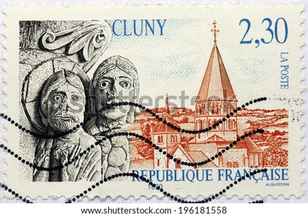 FRANCE - CIRCA 1990: A stamp printed by FRANCE shows view of The Abbey of Cluny (Cluni, or Clugny) - a former Benedictine monastery in Cluny, Saone-et-Loire, France, circa 1990 - stock photo