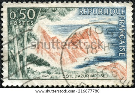 FRANCE - CIRCA 1963: A stamp printed by France shows view of The French Riviera (Cote d'Azur) - Mediterranean coastline of the southeast corner of France, circa 1963 - stock photo