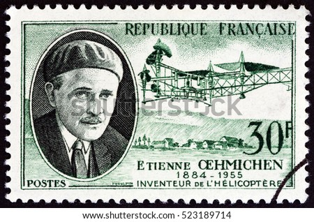 "FRANCE - CIRCA 1957: A stamp printed in France from the ""French Inventors"" shows Etienne Edmond Oehmichen and helicopter, circa 1957."