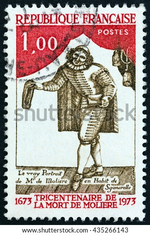 FRANCE - CIRCA 1973: A stamp printed in France issued for the 300th death anniversary of Moliere shows Moliere as Sganarelle, circa 1973.