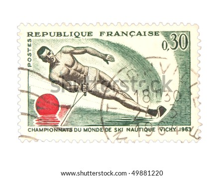 FRANCE - CIRCA 1963: A stamp printed in France showing water ski championship circa 1963