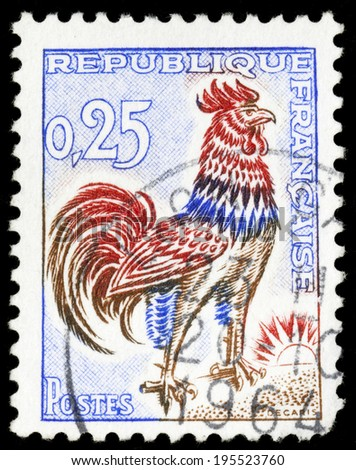 FRANCE - CIRCA 1965: A stamp printed in France shows a Gallic rooster (Coq gaulois) , symbol of France , circa 1965. - stock photo