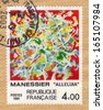 France - CIRCA 1981: A stamp printed in France shows alleluia, stained glass window by Alfred Manessier, circa 1981 - stock photo