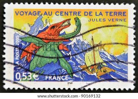 "FRANCE - CIRCA 2005: A stamp printed in France shows an image of ""Journey to the Center of the Earth,"" a novel by Jules Verne, circa 2005"