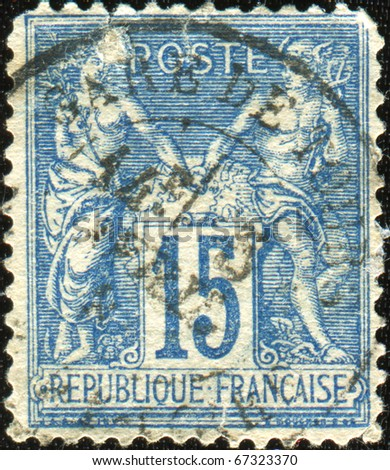 FRANCE - CIRCA 1876: A stamp printed in France shows Athena and Hermes, series Peace and Trade, circa 1876 - stock photo