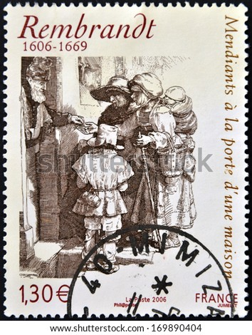 FRANCE - CIRCA 2006: A stamp printed in France shows Beggars receiving alms at the door of a house by Rembrandt, circa 2006 - stock photo