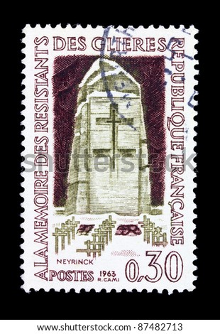 FRANCE - CIRCA 1963: A stamp printed in FRANCE shows Cemetery and Memorial, Glieres (Memorial, Ile de la Cite , Paris), circa 1963.