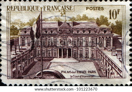FRANCE - CIRCA 1957: A stamp printed in France shows Elysee Palace in Paris, , Yard of Honor, circa 1957