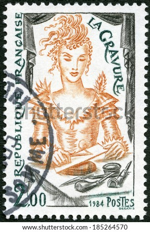 FRANCE - CIRCA 1984: A stamp printed in France shows Engraving, circa 1984 - stock photo