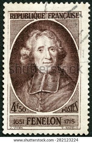 FRANCE - CIRCA 1947: A stamp printed in France shows Francois de Salignac de la Mothe-Fenelon, Archbishop Fenelon (1651-1715), prelate and writer, circa 1947 - stock photo