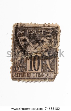 FRANCE - CIRCA 1879: A stamp printed in France shows Hermes and Apemosyne, circa 1879 - stock photo