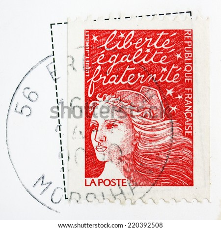 FRANCE - CIRCA 2000: A stamp printed in France shows image celebrating liberty, equality and fraternity (brotherhood), series, circa 2000 - stock photo