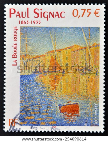 FRANCE - CIRCA 2003: A stamp printed in France shows La bouee rouge (The Red Buoy) by Paul Signac, circa 2003 - stock photo