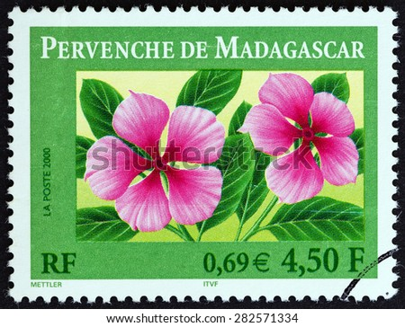 FRANCE - CIRCA 2000: A stamp printed in France shows Madagascar periwinkle (Catharanthus roseus), circa 2000.  - stock photo