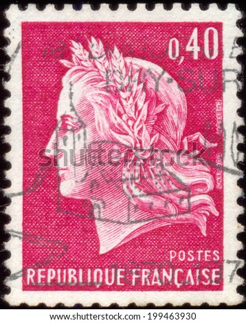 FRANCE - CIRCA 1969: A stamp printed in France shows Marianne, type Cheffer, circa 1969. - stock photo