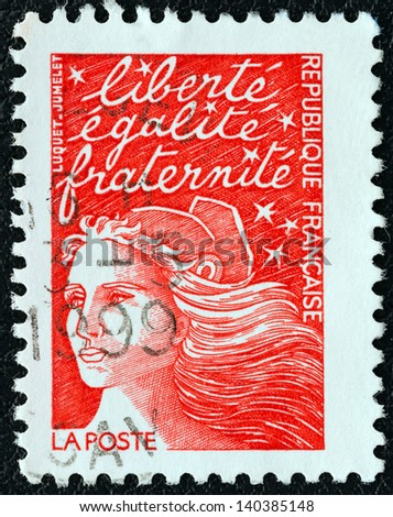 FRANCE - CIRCA 2001: A stamp printed in France shows Marianne type Luquet, circa 2001. - stock photo