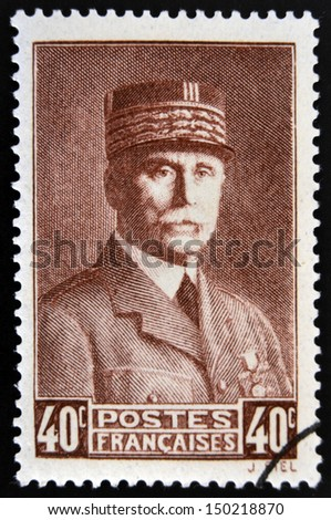 FRANCE - CIRCA 1941: A stamp printed in France shows Marshal Petain, circa 1941