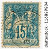 FRANCE - CIRCA 1892: A stamp printed in France, shows Peace and Commerce, circa 1892 - stock photo