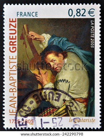FRANCE - CIRCA 2005: A stamp printed in France shows picture The Guitarist (Le Guitariste) by French artist Jean-Baptiste Greuze, circa 2005  - stock photo