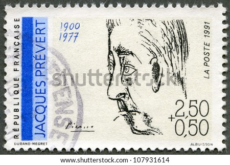 FRANCE - CIRCA 1991: A stamp printed in France shows portrait of Jacques Prevert (1900-1977) by Pablo Picasso, series Poets, circa 1991 - stock photo