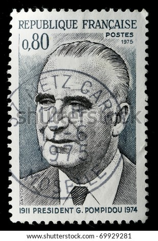 FRANCE - CIRCA 1975: A stamp printed in France shows president Georges Pompidou, circa 1975