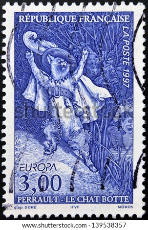 FRANCE - CIRCA 1997: A stamp printed in France shows Puss in Boots, Perrault tale, circa 1997