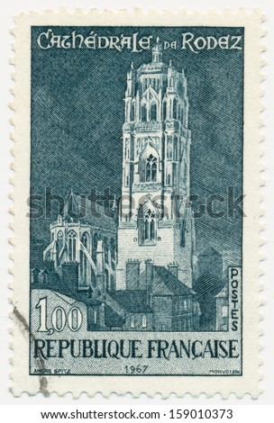 FRANCE- CIRCA 1967: A stamp printed in France shows Rodez Cathedral, circa 1967