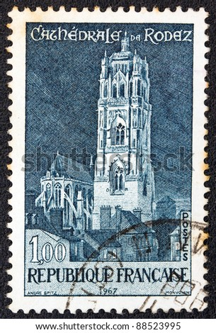 FRANCE - CIRCA 1967: A stamp printed in France shows Rodez cathedral, circa 1967.