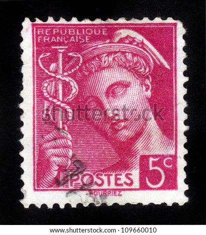 FRANCE - CIRCA 1938: A stamp printed in France shows the ancient Greek god - Mercury, circa 1938 - stock photo