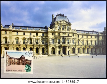 FRANCE - CIRCA 1998: A stamp printed in France shows the palace of the Louvre in Paris, circa 1998