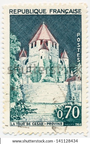 FRANCE- CIRCA 1964: A stamp printed in France shows Tour Cesar (Provins), circa 1964
