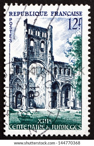FRANCE - CIRCA 1954: a stamp printed in the France shows Abbey Ruins, Jumieges, Benedictine Monastery, Normandy, circa 1954 - stock photo