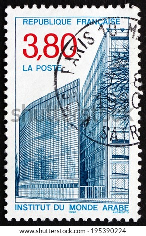 FRANCE - CIRCA 1990: a stamp printed in the France shows Arab World Institute, an Organization Founded in Paris to Research the Arab World and its Cultural and Spiritual Values, circa 1990 - stock photo