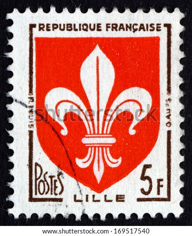 FRANCE - CIRCA 1958: a stamp printed in the France shows Arms of Lille, circa 1958