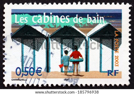 FRANCE - CIRCA 2003: a stamp printed in the France shows Beach Cabins, Aspects of Life in the French Regions, circa 2003 - stock photo