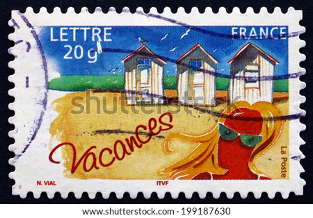 FRANCE - CIRCA 2005: a stamp printed in the France shows Beach Cabins, Vacation, circa 2005 - stock photo