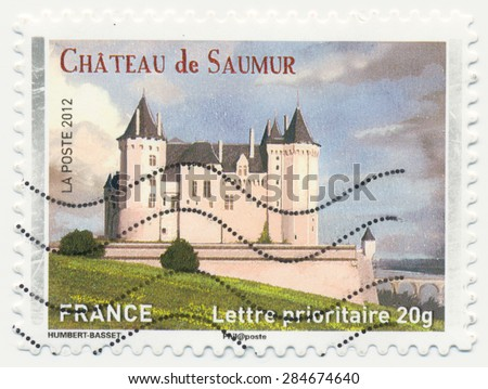 FRANCE - CIRCA 2012: a stamp printed in the France shows  Castle Saumur, circa 2012