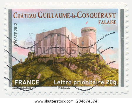 FRANCE - CIRCA 2012: a stamp printed in the France shows  Castle William the Conqueror, Falaise, circa 2012 - stock photo