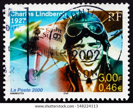 FRANCE - CIRCA 2000: a stamp printed in the France shows Charles Lindbergh Flies Solo Across Atlantic, 1927, circa 2000