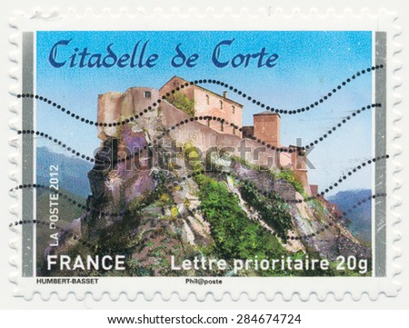 FRANCE - CIRCA 2012: a stamp printed in the France shows  Chateau de Corte, circa 2012 - stock photo