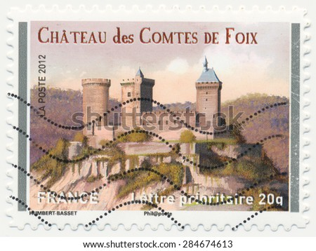 FRANCE - CIRCA 2012: a stamp printed in the France shows  Chateau de Foix, circa 2012
