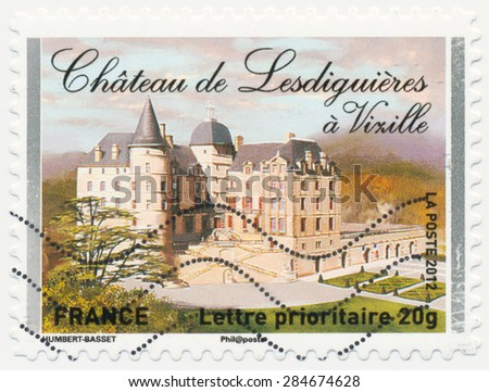 FRANCE - CIRCA 2012: a stamp printed in the France shows  Chateau de Vizille, circa 2012 - stock photo