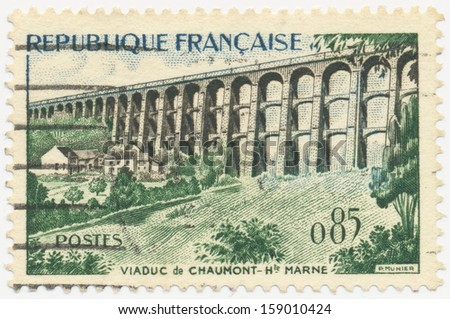 FRANCE - CIRCA 1960: a stamp printed in the France shows Chaumont Viaduct, circa 1960