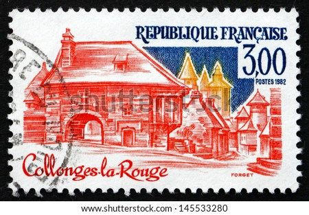 FRANCE - CIRCA 1982: a stamp printed in the France shows Collonges-la-Rouge, Correze, Limousin region, circa 1982 - stock photo